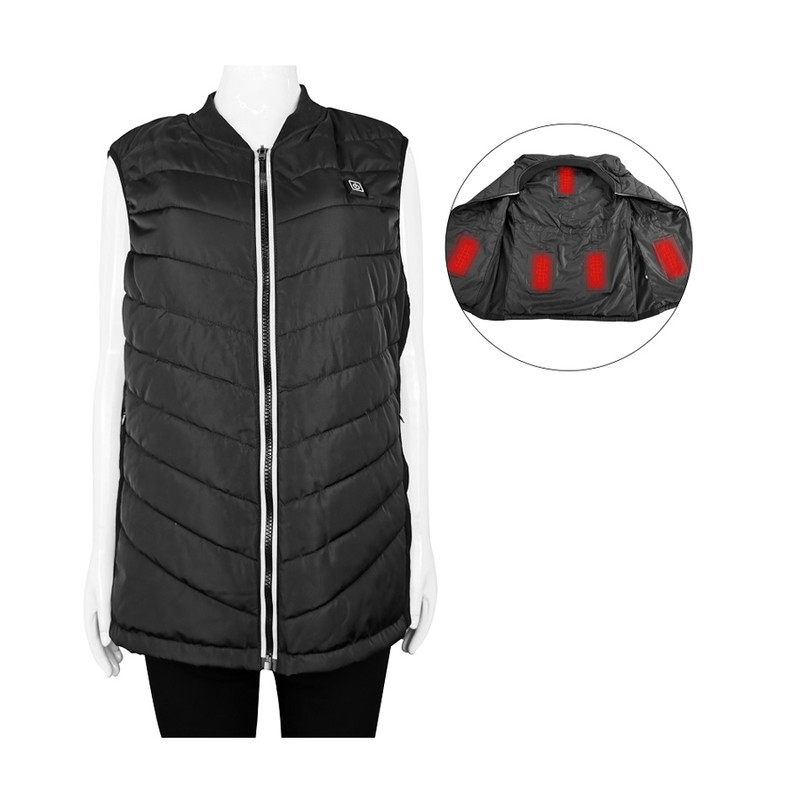 5V USB Electric Heated Vest Rechargeable Far Infrared Battery Heating Fleece Padded Knit Sweater