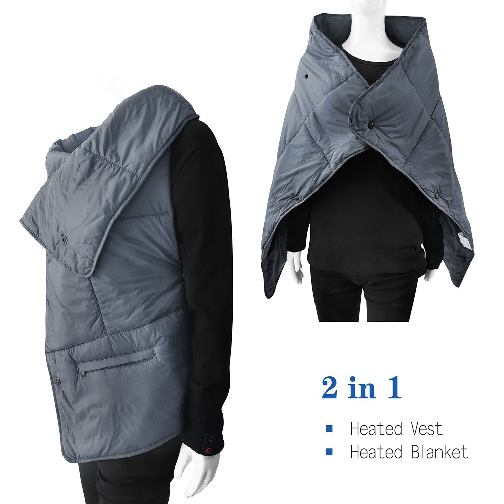 Multi-function 2in1 heated vest and Heating Blanket Portable Lightweight Electric Far Infrared