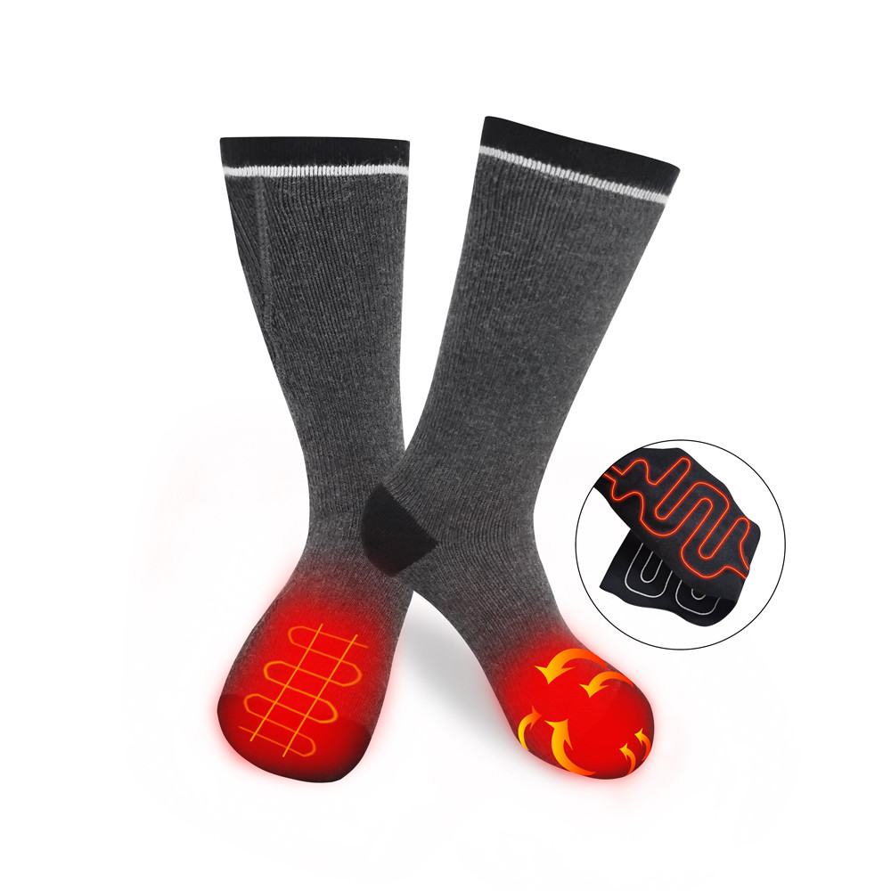 Rechargeable Electrical Thermal Ski Heated Socks Heatable Mens Women Warm Winter Thick heating Socks With Battery