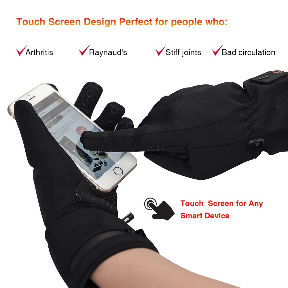 Dr.warm Heated Glove Liners for Men and Women Windproof Touchscreen Anti-Skip with Rechargeable Battery