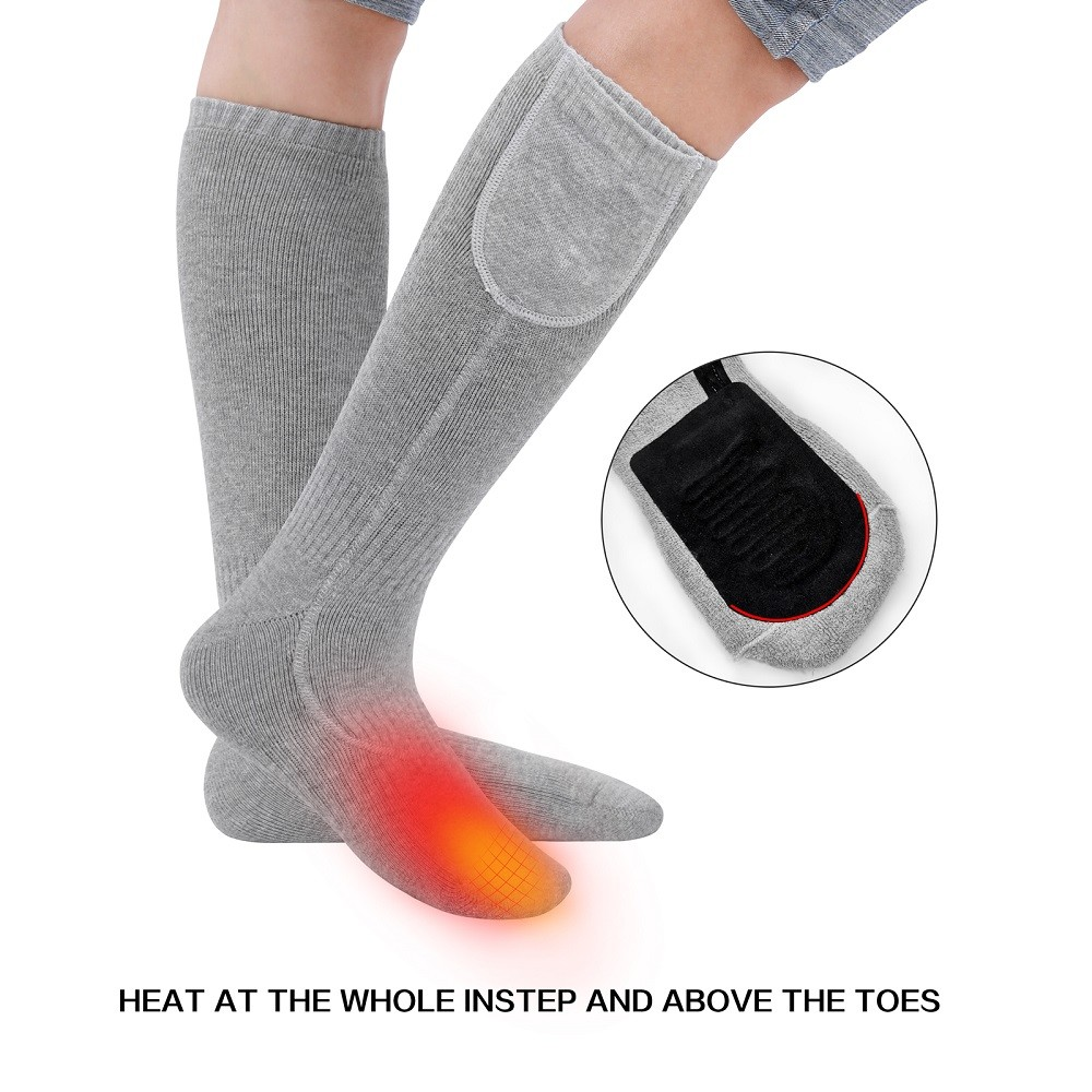 Rechargeable Heated Socks Custom Pattern Winter 3.7V 2600mah battery electric for outdoor sports