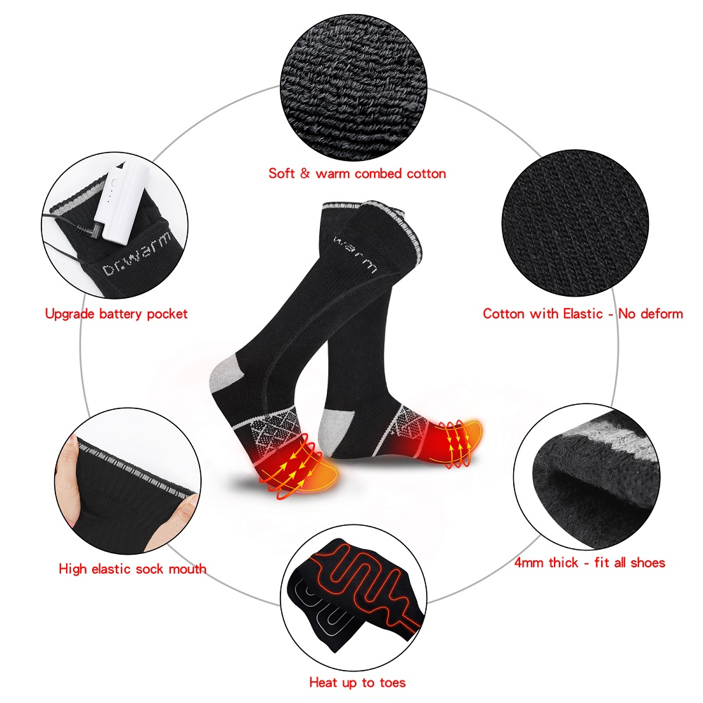Dr. Warm heated battery heated socks with smart design for indoor use-2