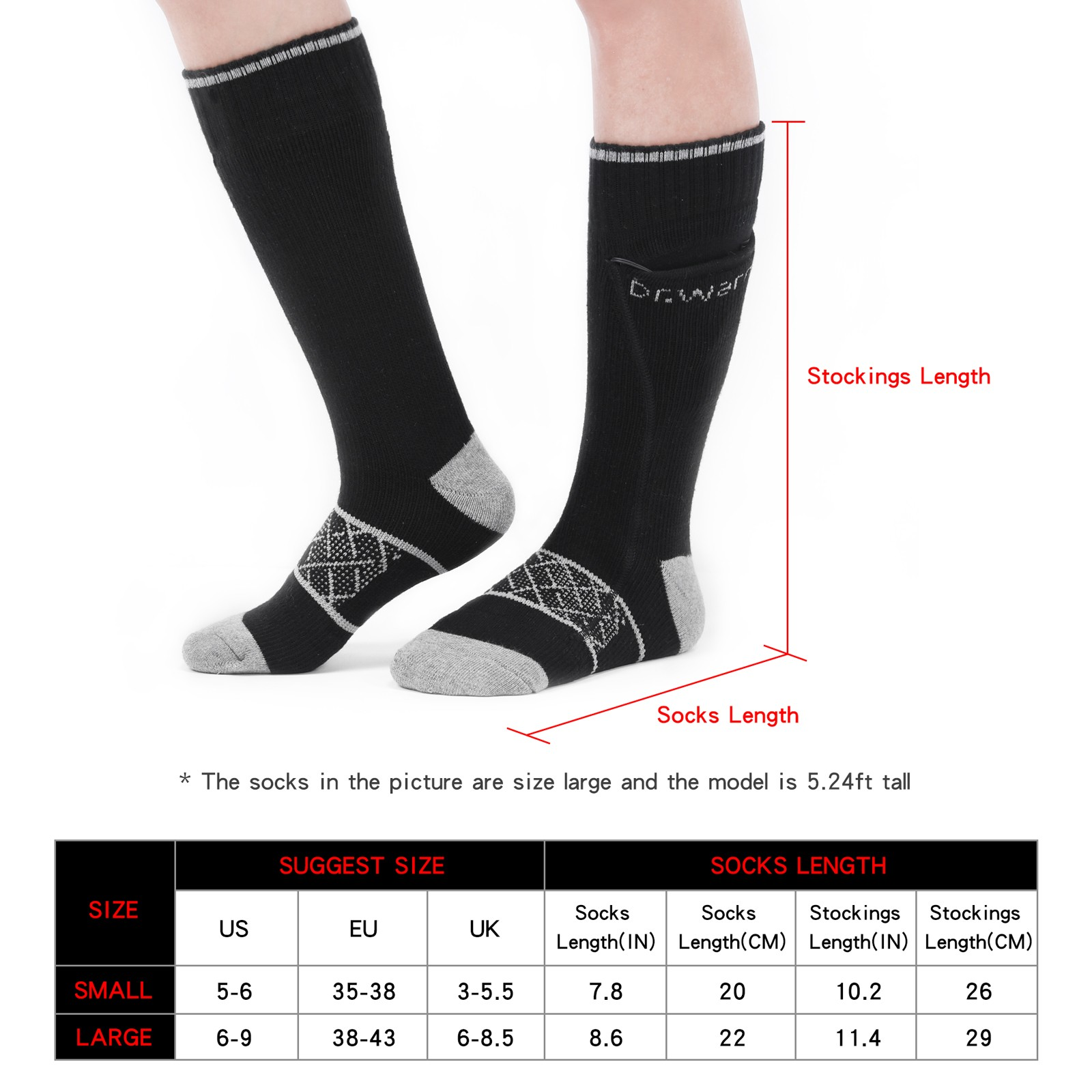 Dr. Warm heated battery heated socks with smart design for indoor use-10