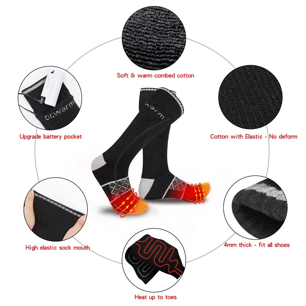Dr. Warm heated battery heated socks with smart design for indoor use