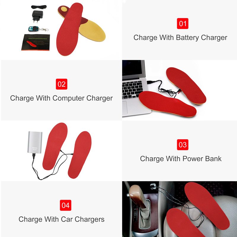 Manual Control R4 Warmer Heated Insoles Dr.Warm Rechargeable Battery powered