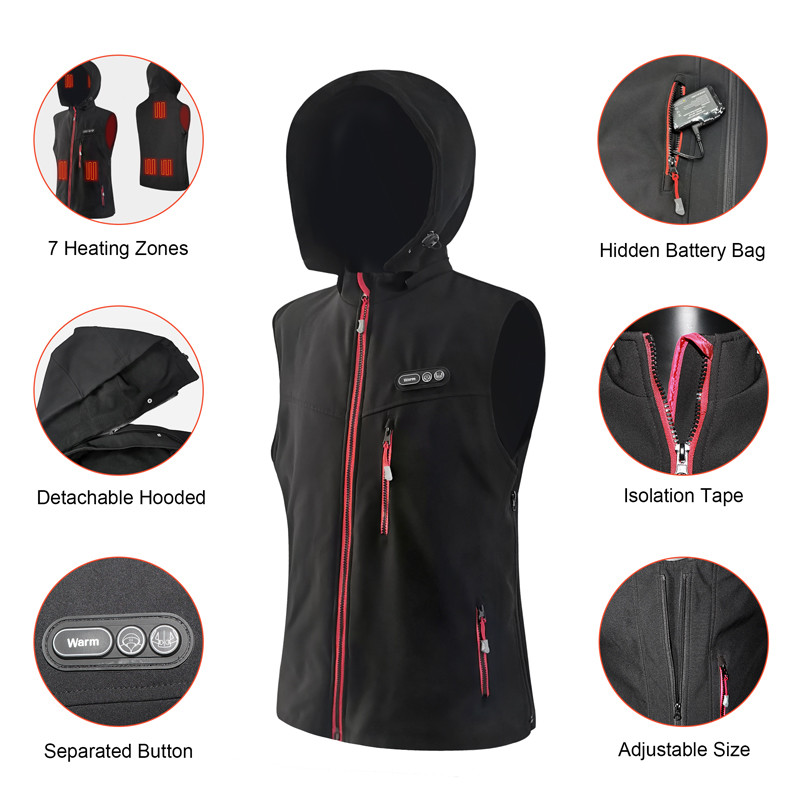 5V USB power supply heated vests unisex winter vest heated warm jacket with hood