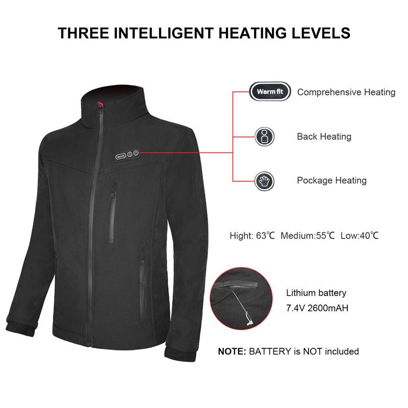 Comprehensice heated jacket 7.4V Battery Winter custom ski hunting heated coats and warm clothing