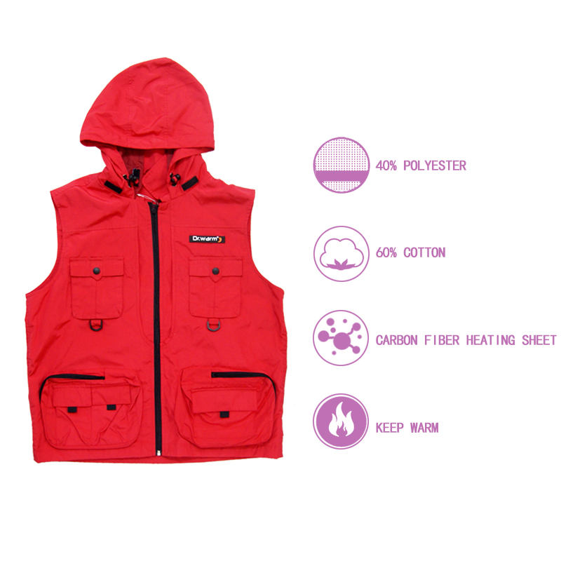 Dr. Warm fishing best women's heated vest with prined pattern for home-1