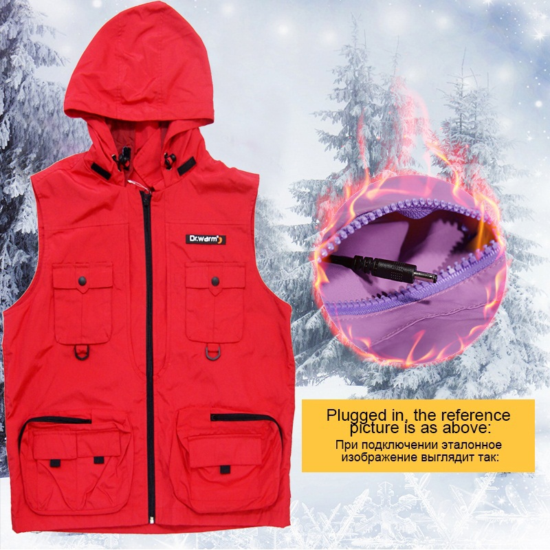 Dr. Warm fishing best women's heated vest with prined pattern for home-2