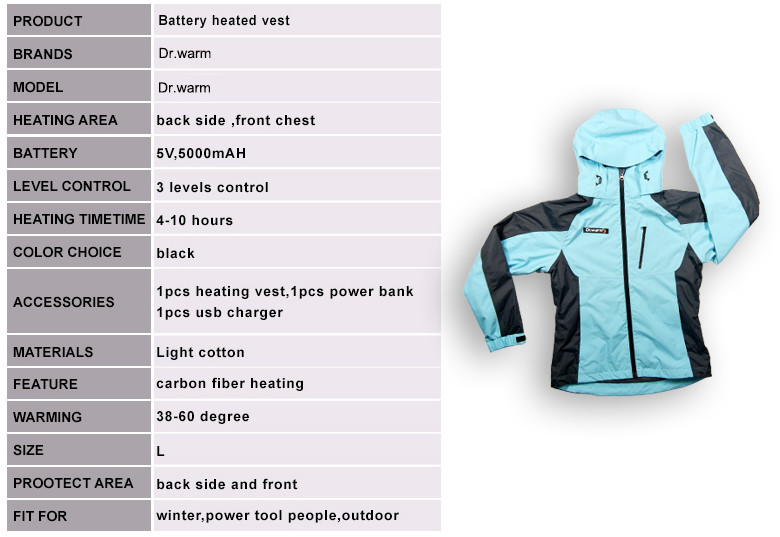 Dr. Warm grid heated hooded jacket with heel cushion design for ice house