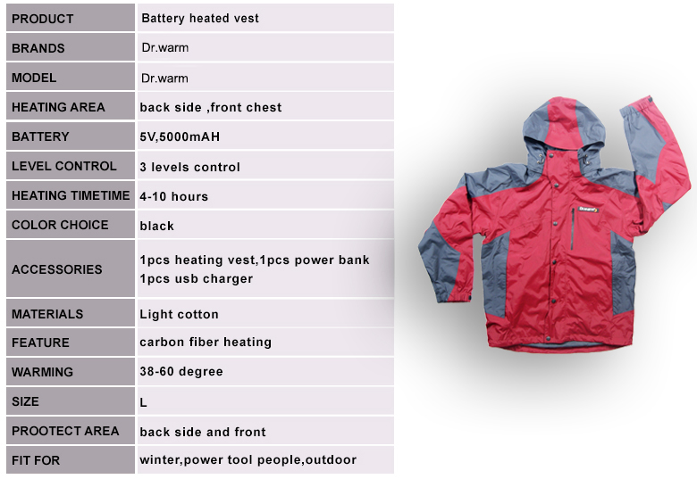 waterproof battery powered heated jacket with heel cushion design for indoor use Dr. Warm-7