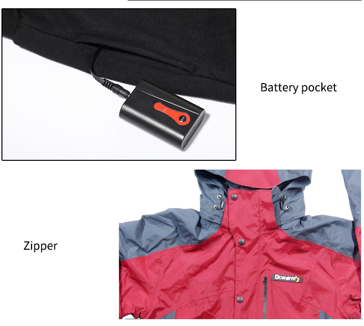 waterproof battery powered heated jacket with heel cushion design for indoor use Dr. Warm-8