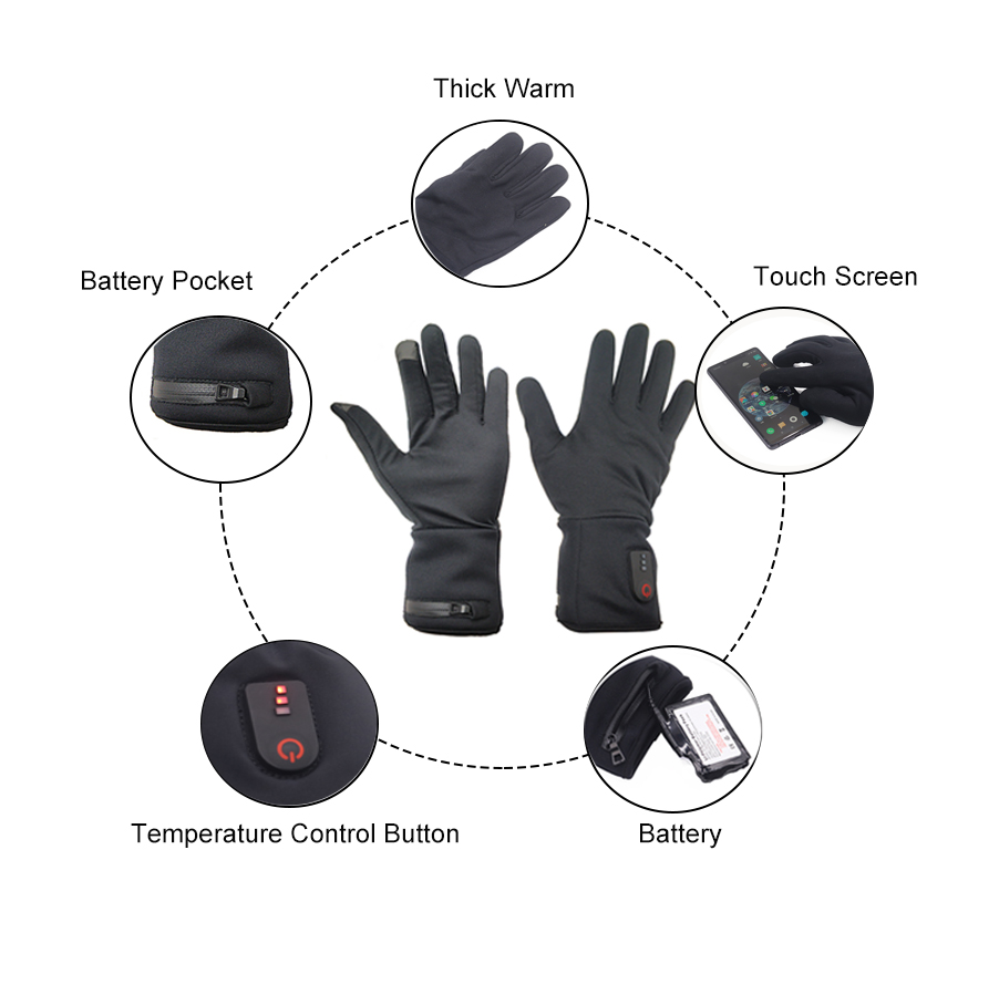 suitable battery heated gloves winter with prined pattern for ice house-7
