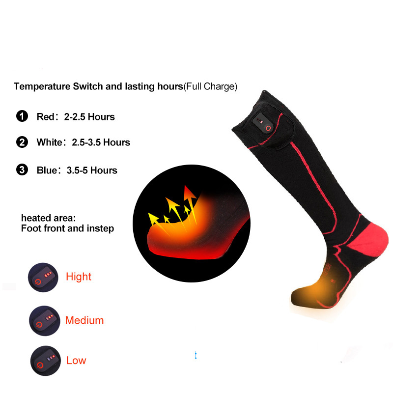 Men Women Heated Socks Washable Outdoor Sports Heating Socks  Winter Cotton Warm Soft 40-50 Degrees