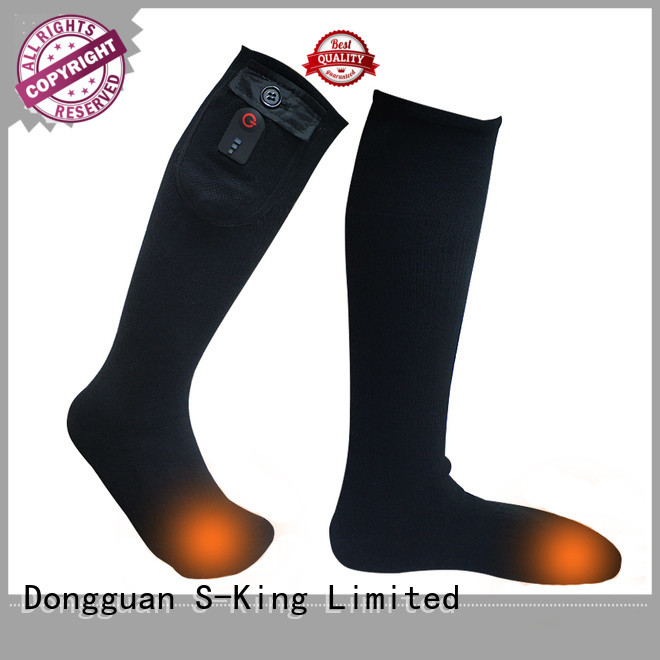 heated rechargeable battery heated socks cotton with prined pattern for indoor use
