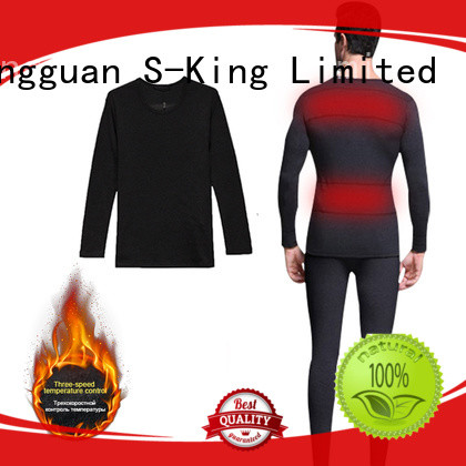 warm battery heated base layer sports with prined pattern for ice house